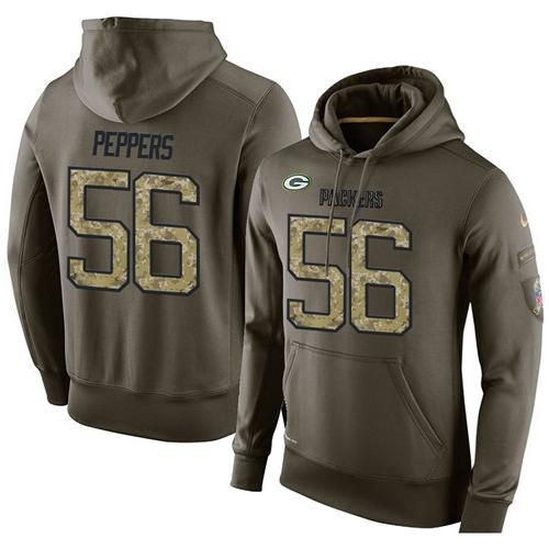 NFL Men's Nike Green Bay Packers #56 Julius Peppers Stitched Green Olive Salute To Service KO Performance Hoodie