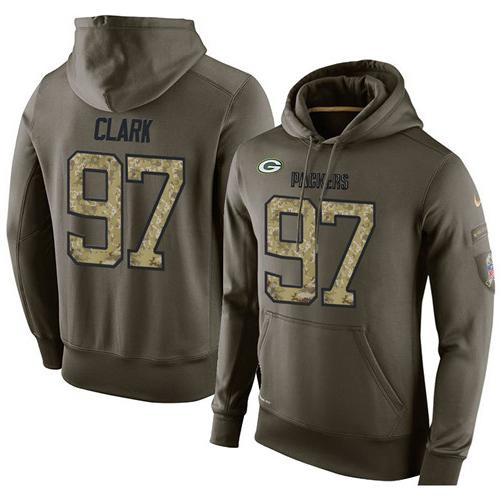 NFL Men's Nike Green Bay Packers #97 Kenny Clark Stitched Green Olive Salute To Service KO Performance Hoodie