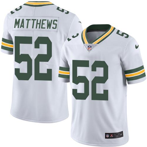 Nike Packers #52 Clay Matthews White Men's Stitched NFL Limited Rush Jersey