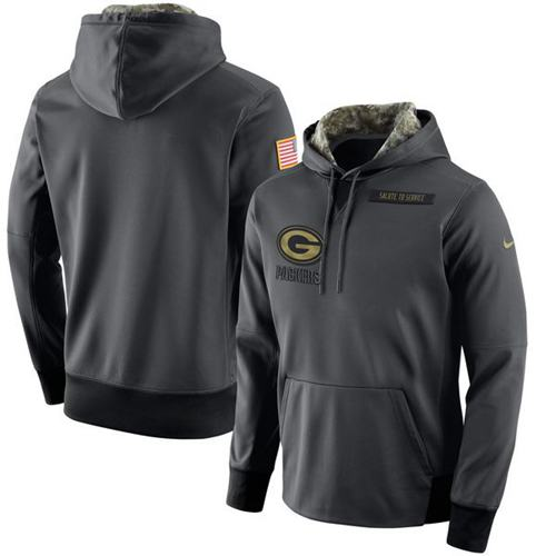 Men's Green Bay Packers Nike Anthracite Salute to Service Player Performance Hoodie