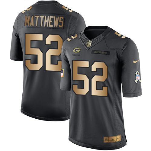 Nike Packers #52 Clay Matthews Black Men's Stitched NFL Limited Gold Salute To Service Jersey