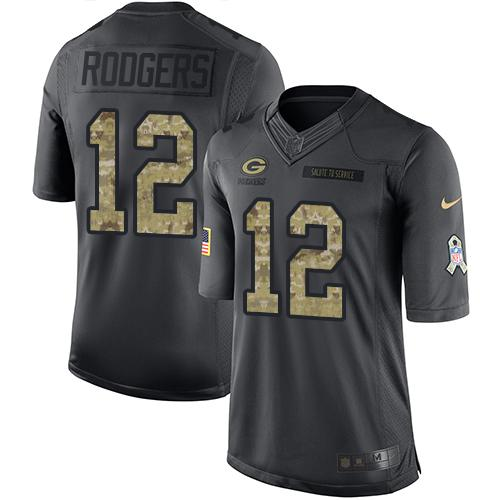 Nike Packers #12 Aaron Rodgers Black Men's Stitched NFL Limited 2016 Salute To Service Jersey