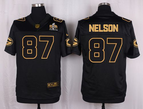 Nike Packers #87 Jordy Nelson Black Men's Stitched NFL Elite Pro Line Gold Collection Jersey