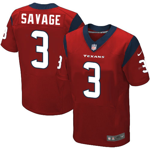 Nike Texans #3 Tom Savage Red Alternate Men's Stitched NFL Elite Jersey