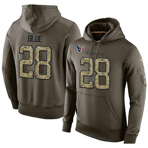 NFL Men's Nike Houston Texans #28 Alfred Blue Stitched Green Olive Salute To Service KO Performance Hoodie