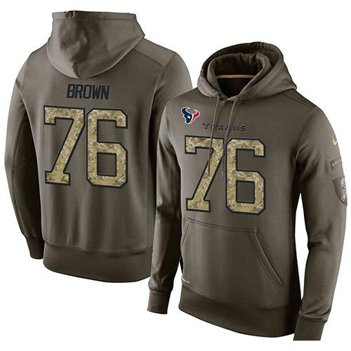 NFL Men's Nike Houston Texans #76 Duane Brown Stitched Green Olive Salute To Service KO Performance Hoodie