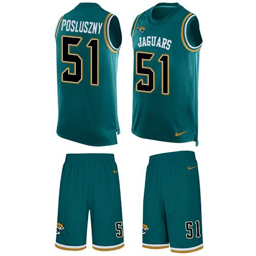 Nike Jaguars #51 Paul Posluszny Teal Green Team Color Men's Stitched NFL Limited Tank Top Suit Jersey