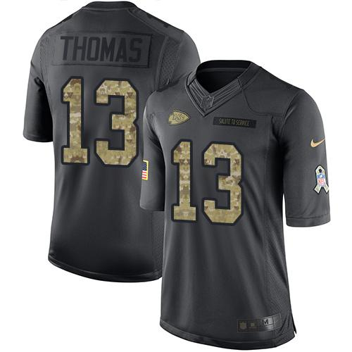 Nike Chiefs #13 De'Anthony Thomas Black Men's Stitched NFL Limited 2016 Salute to Service Jersey