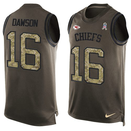 Nike Chiefs #16 Len Dawson Green Men's Stitched NFL Limited Salute To Service Tank Top Jersey