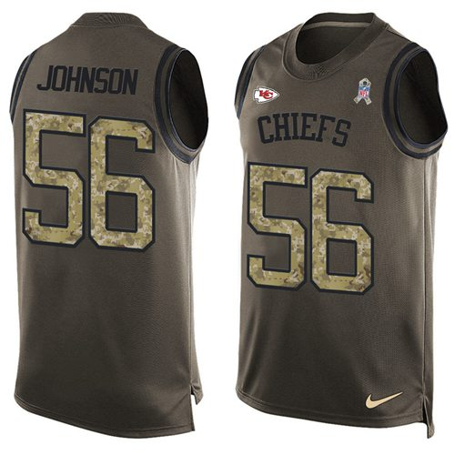 Nike Chiefs #56 Derrick Johnson Green Men's Stitched NFL Limited Salute To Service Tank Top Jersey
