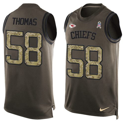 Nike Chiefs #58 Derrick Thomas Green Men's Stitched NFL Limited Salute To Service Tank Top Jersey