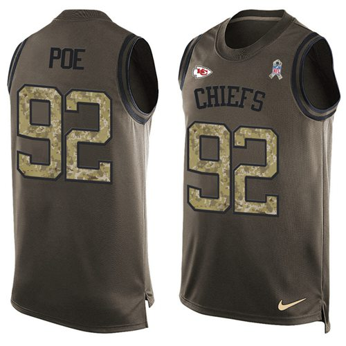 Nike Chiefs #92 Dontari Poe Green Men's Stitched NFL Limited Salute To Service Tank Top Jersey