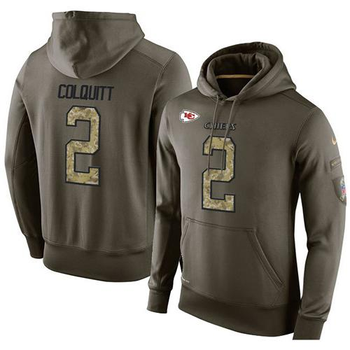 NFL Men's Nike Kansas City Chiefs #2 Dustin Colquitt Stitched Green Olive Salute To Service KO Performance Hoodie