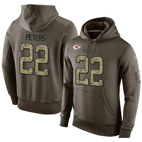 NFL Men's Nike Kansas City Chiefs #22 Marcus Peters Stitched Green Olive Salute To Service KO Performance Hoodie
