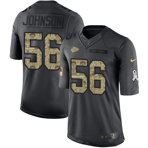 Nike Chiefs #56 Derrick Johnson Black Men's Stitched NFL Limited 2016 Salute to Service Jersey