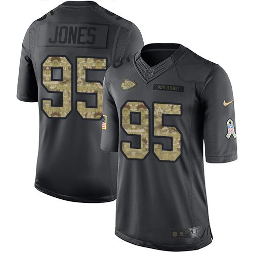 Nike Chiefs #95 Chris Jones Black Men's Stitched NFL Limited 2016 Salute to Service Jersey