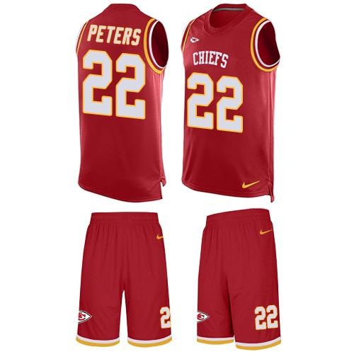 Nike Chiefs #22 Marcus Peters Red Team Color Men's Stitched NFL Limited Tank Top Suit Jersey