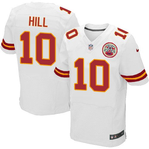 Nike Chiefs #10 Tyreek Hill White Men's Stitched NFL Elite Jersey