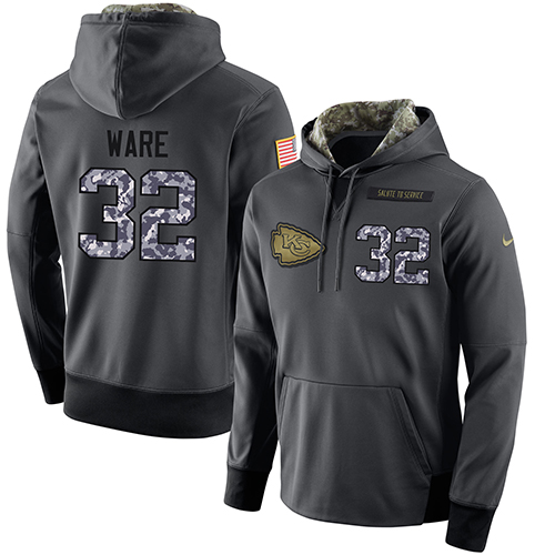 NFL Men's Nike Kansas City Chiefs #32 Spencer Ware Stitched Black Anthracite Salute to Service Player Performance Hoodie
