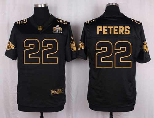 Nike Chiefs #22 Marcus Peters Black Men's Stitched NFL Elite Pro Line Gold Collection Jersey