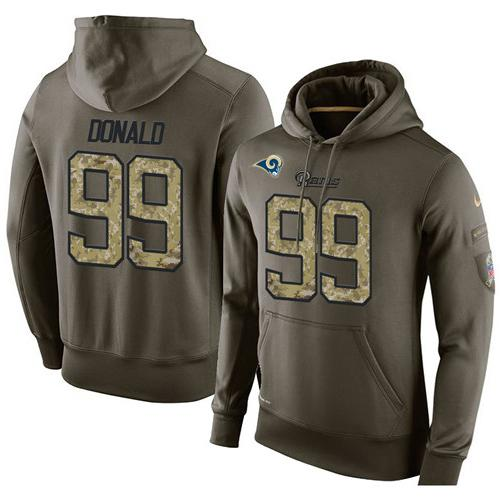NFL Men's Nike Los Angeles Rams #99 Aaron Donald Stitched Green Olive Salute To Service KO Performance Hoodie