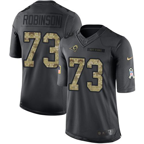 Nike Rams #73 Greg Robinson Black Men's Stitched NFL Limited 2016 Salute to Service Jersey