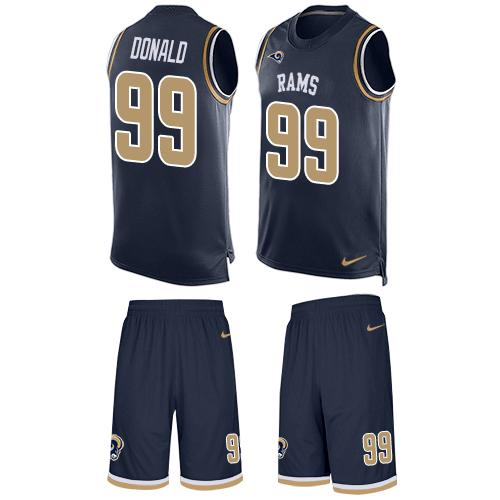 Nike Rams #99 Aaron Donald Navy Blue Team Color Men's Stitched NFL Limited Tank Top Suit Jersey