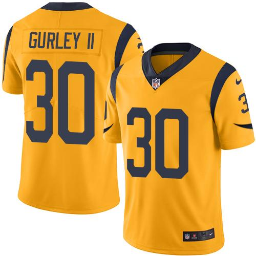 Nike Rams #30 Todd Gurley II Gold Men's Stitched NFL Limited Rush Jersey
