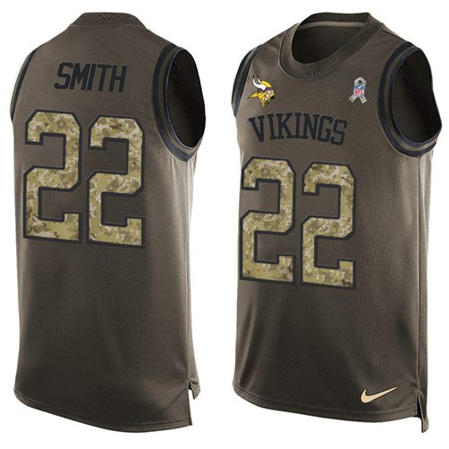 Nike Vikings #22 Harrison Smith Green Men's Stitched NFL Limited Salute To Service Tank Top Jersey