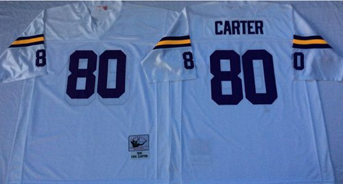 Mitchell And Ness Vikings #80 Cris Carter White Throwback Stitched NFL Jersey