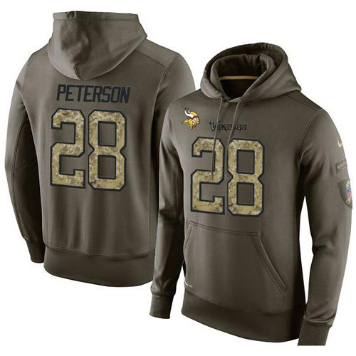 NFL Men's Nike Minnesota Vikings #28 Adrian Peterson Stitched Green Olive Salute To Service KO Performance Hoodie