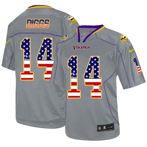 Nike Vikings #14 Stefon Diggs Grey Men's Stitched NFL Elite USA Flag Fashion Jersey
