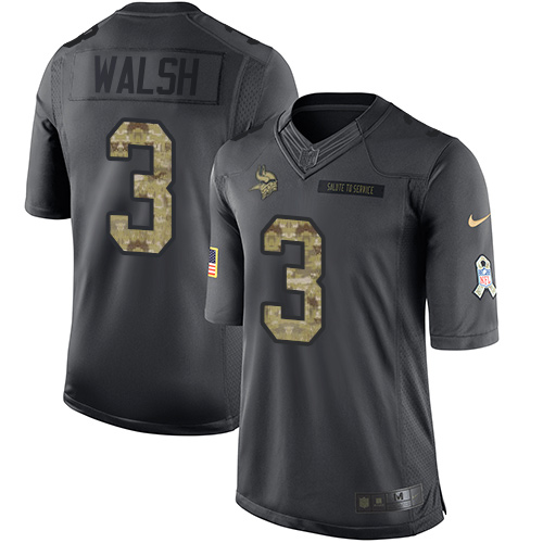 Nike Vikings #3 Blair Walsh Black Men's Stitched NFL Limited 2016 Salute To Service Jersey