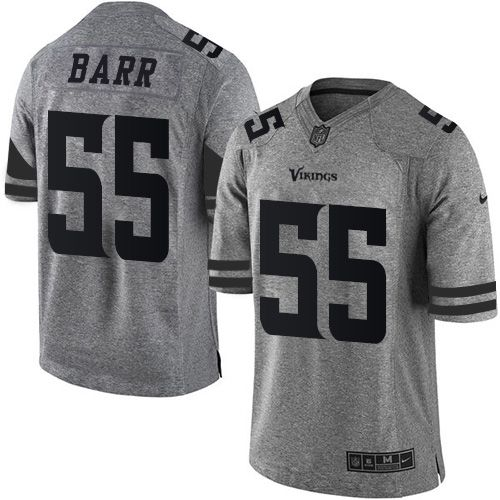 Nike Vikings #55 Anthony Barr Gray Men's Stitched NFL Limited Gridiron Gray Jersey