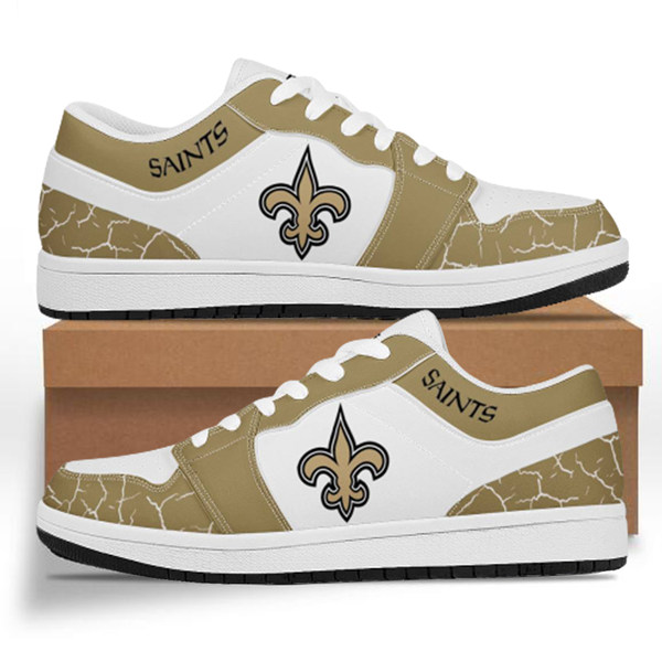 Men's New Orleans Saints AJ Low Top Leather Sneakers 001