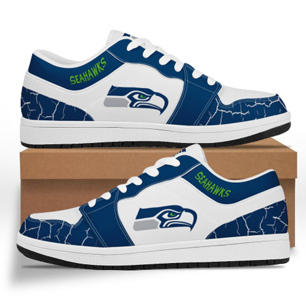 Men's Seattle Seahawks AJ Low Top Leather Sneakers 001