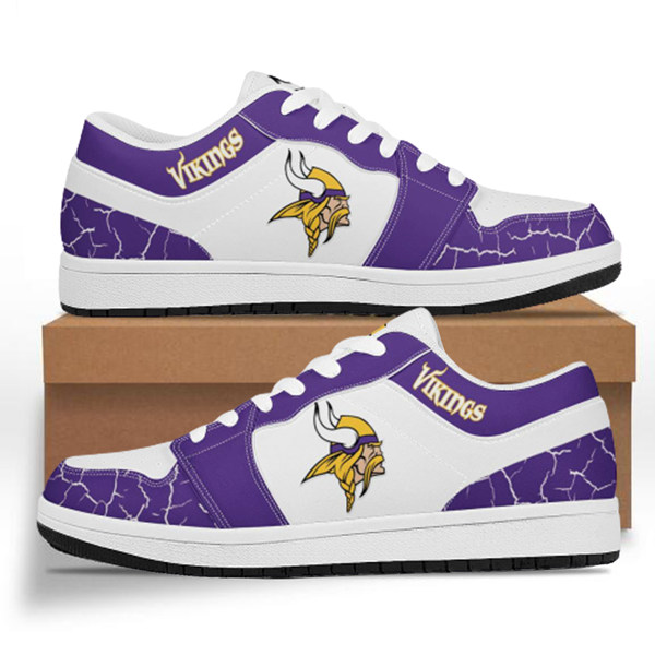 Men's Minnesota Vikings AJ Low Top Leather Sneakers 001