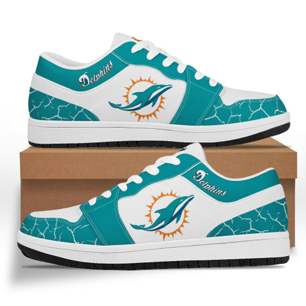 Men's Miami Dolphins AJ Low Top Leather Sneakers 001