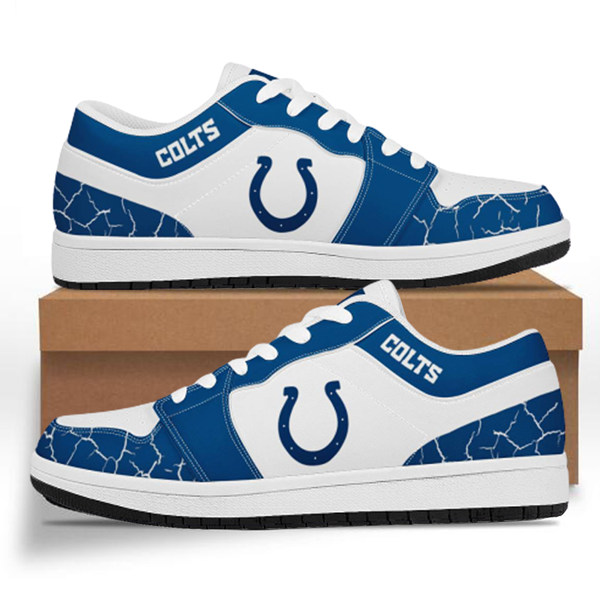 Men's Indianapolis Colts AJ Low Top Leather Sneakers 001