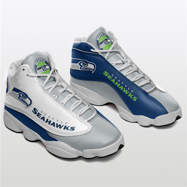 Men's Seattle Seahawks AJ13 Series High Top Leather Sneakers 001