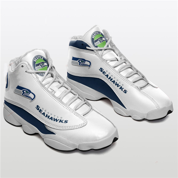 Men's Seattle Seahawks AJ13 Series High Top Leather Sneakers 002