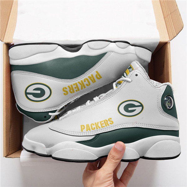 Men's Green Bay Packers AJ13 Series High Top Leather Sneakers 001