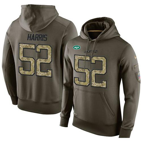 NFL Men's Nike New York Jets #52 David Harris Stitched Green Olive Salute To Service KO Performance Hoodie