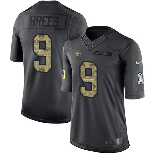 Nike Saints #9 Drew Brees Black Men's Stitched NFL Limited 2016 Salute To Service Jersey