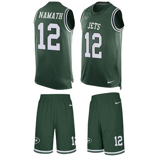 Nike Jets #12 Joe Namath Green Team Color Men's Stitched NFL Limited Tank Top Suit Jersey