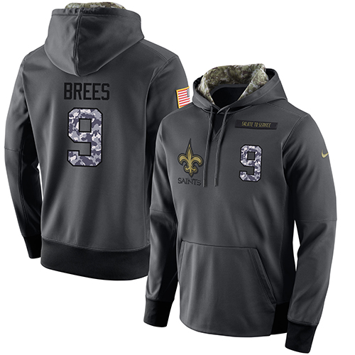 NFL Men's Nike New Orleans Saints #9 Drew Brees Stitched Black Anthracite Salute to Service Player Performance Hoodie