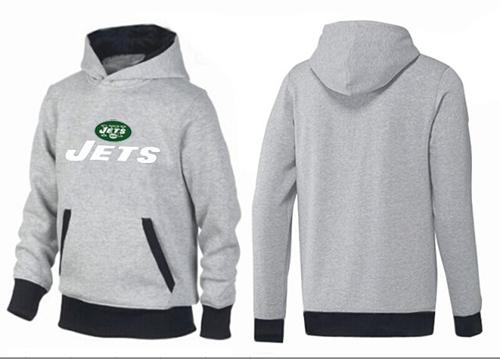 New York Jets Authentic Logo Pullover Hoodie Grey & Black