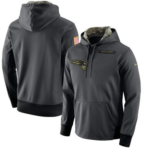 Men's New England Patriots Nike Anthracite Salute to Service Player Performance Hoodie