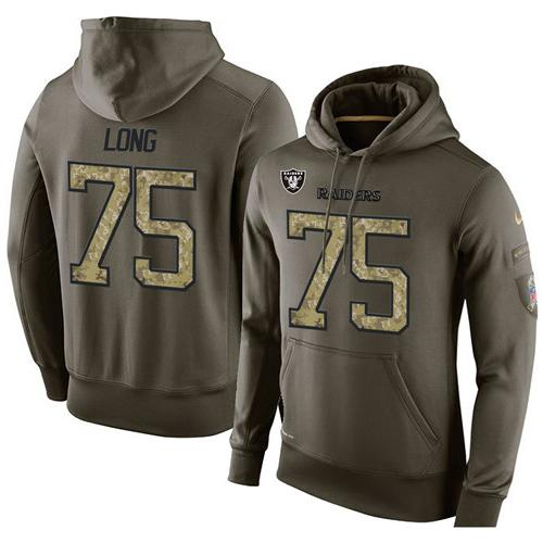 NFL Men's Nike Oakland Raiders #75 Howie Long Stitched Green Olive Salute To Service KO Performance Hoodie