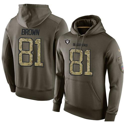 NFL Men's Nike Oakland Raiders #81 Tim Brown Stitched Green Olive Salute To Service KO Performance Hoodie